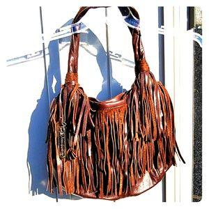 B Makowsky Brown Pebbled Leather Fringe Bag